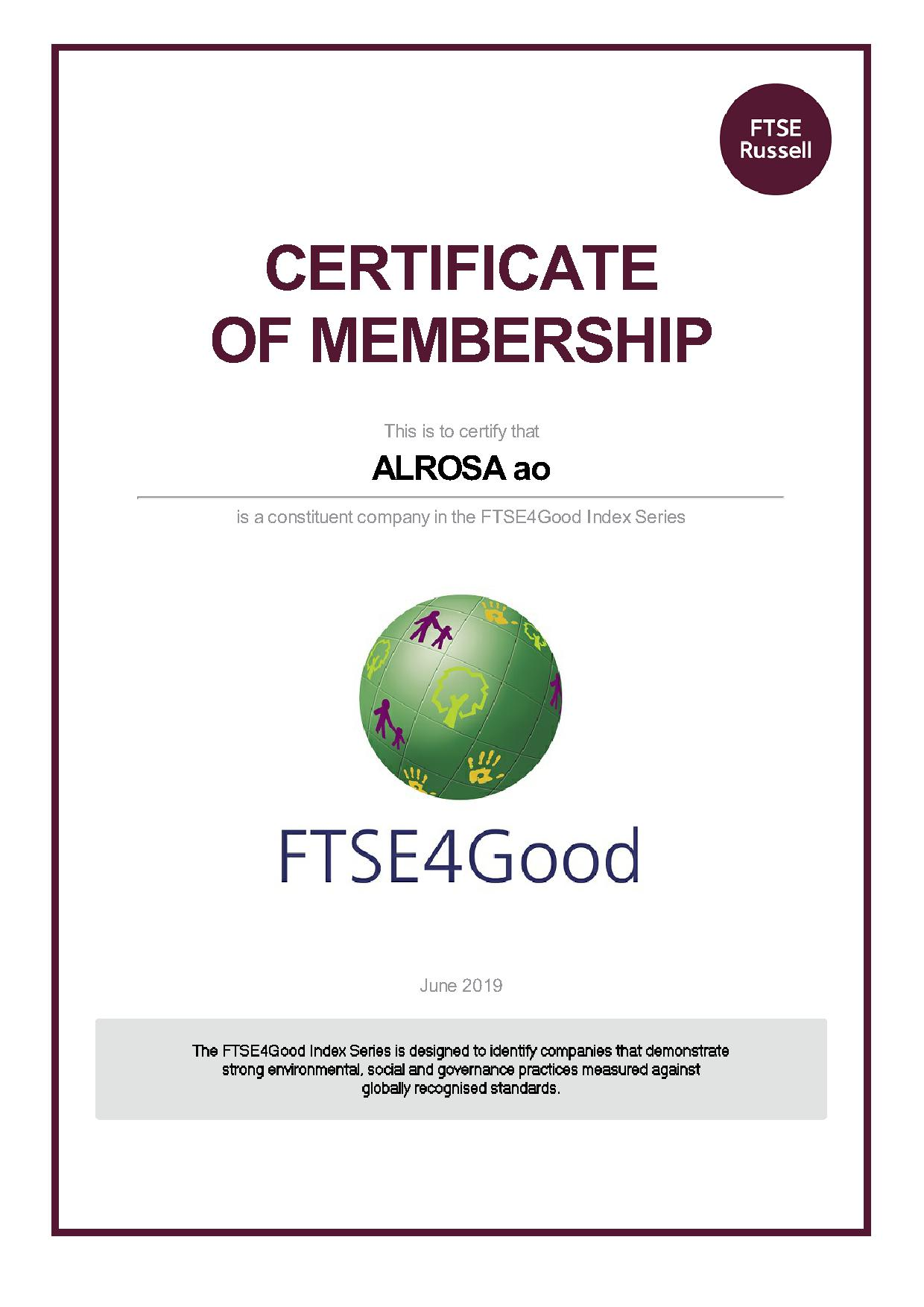 ALROSA remains constituent of FTSE4Good Index Series | Alrosa
